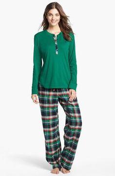 Lauren Ralph Lauren Knit & Flannel Pajamas available at Flannel Pajamas, Silk Pajamas, Night Suit, Henley Tee, Mode Hijab, Pajamas Women, Apparel Design, Nightwear, Tartan