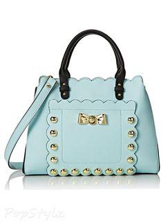 Betsey Johnson Studded Afair Satchel Handbag