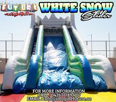 Have a FUNtastic and Sliding excitement with WHITE SNOW SLIDER! Great for outdoor events, parties and activities!  We have more variety of Inflatables from Sliders,Bouncy and Mechanical Rides! Perfect for your needs ♥  FOR MORE INQUIRIES! Call : 042677789l107 Email : info@imaginefuture.ae