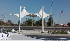 سایبان ایستگاه انتظار تاکسی در شهر بابلسر با سازه کششی غشایی و پارچه مدرن PVC با فرم دو قله