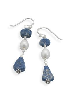 Cultured Freshwater Pearl and Lapis Earrings