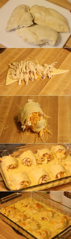 Thinking of trying w/ left over turkey instead of chicken. Chicken Roll Ups: 2-3 chicken breasts 1 tube crescent rolls 1 can cream chicken soup Shredded cheddar cheese Directions: Boil chicken breasts for half an hour (if frozen for an hour). Shred chicken Preheat oven to 375 Roll up shredded cheddar cheese and chicken into each crescent roll and place in a 9×13 baking dish. Mix 1/2 cup of water with cream of chicken soup and pour over the roll ups Cook for 20-25 minutes or until golden…
