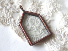 1 Glass House Locket Home Shape Copper Double Pane Glass by BuyDiy