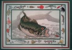 Crosse stitched large mouth bass for my hubby, 2002. Won first prize for its category at the Sandwich Fair, Sandwich Illinois.