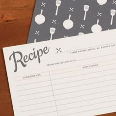 cute recipe card printable- make a recipe book for the bride and groom so they can have hearts full of love and tummys full of grub!
