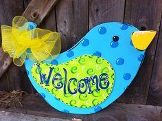 Wooden Bird Door Hanger Hand Painted by Earthlizard on Etsy, $45.00