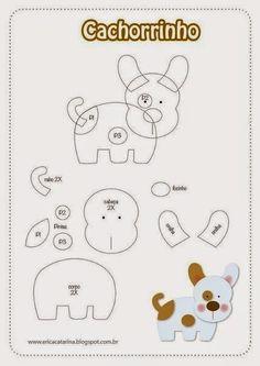 moldes para hacer perritos de fieltro – Moldes gratis de Crochet Pinterest