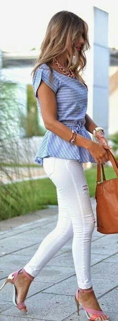 Blue and white striped top with white jeans