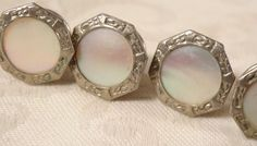 Art Deco Superb Etched Floral Silver Plate Mother of Pearl Snap On Cufflinks Wow #Unbranded