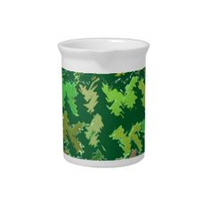 Green Theme : Military Camouflage Wave Pattern Beverage Pitcher