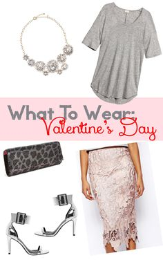 What To Wear: Valentine's Day Outfit #tee #leopard #metallic #lace