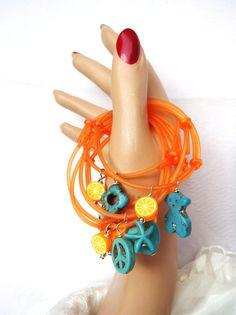 NEW Orange Rubber PVC Bracelets Friendship Bracelets by vess65, $8.00