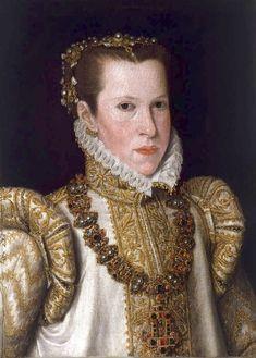 ca. 1550 Maria of Portugal, Duchess of Parma by Anthonis Mor workshop (Pinacoteca Stuard - Parma, Emilia-Romagna Italy) Wm made lighter