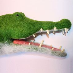 Needle felted alligator hand puppet, glass bead eyes, fimo teeth by Laura Lee Burch