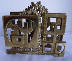 Brutalist Brass Napkin Holder Mid Century Abstract Design Menorah Judaica in…