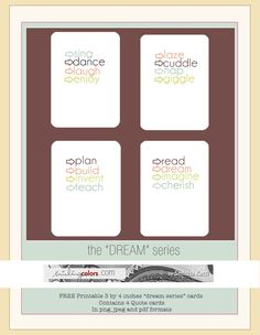 Dream Quote | free printable journal cards, by Smitha. #ProjectLife #Scrapbooking
