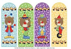 Clowning Around Book Marks on Craftsuprint designed by Rhonda Brittain - This is a cute set of four book marks. For those of you who love clowns, bears and the circus. - Now available for download!