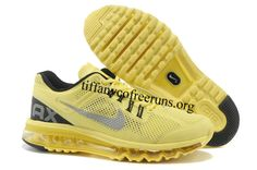 Mens Nike Air Max 2013 Electric Yellow Reflective Silver Cool Grey Shoes