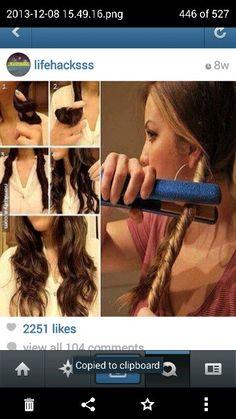 Fast and easy curls! Twist Curls, Easy Curls, Diy Hairstyles, Pretty Hairstyles, Medium Hair Styles, Curly Hair Styles, Tips Belleza, About Hair, Hair Dos