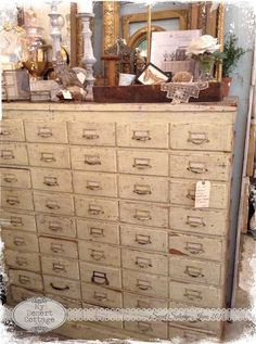 Sharing my love of all things vintage, and aged with the patina of time. Filing Cabinets, Cupboards, Rustic Vintage Decor, Vintage Antiques, Antique Furniture, Painted Furniture, Studio Desk, Cupboard Drawers, Study Ideas