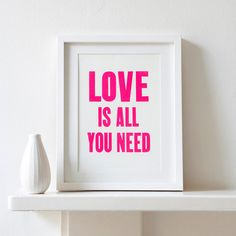 Neon Pink  Love is all you need letterpress by PRINTforLOVEofWOOD, £15.00