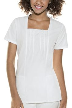 26715 in White. Baby Phat Scrubs, Square Neck Top, Lace Insert, Princess Seam, Poplin, Short Sleeve Dresses, Feminine, Nursing Scrubs, Scrub Life