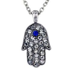 @Overstock.com.com - This light-reflecting silvertone Hamsa pendant showcases a blue crystal center stone with surrounding clear crystals. This beautiful necklace features a silvertone chain and an extender paired with an inspirational message referencing 'strength'.http://www.overstock.com/Jewelry-Watches/Silvertone-Hamsa-Blue-and-Clear-Crystal-Necklace/6401375/product.html?CID=214117 $8.99