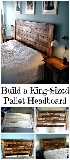 DIY King-Sized Pallet Headboard Tutorial - 150 Best DIY Pallet Projects and Pallet Furniture Crafts - Page 36 of 75 - DIY & Crafts - Diy Zuhause Diy Pallet Furniture, Diy Pallet Projects, Pallet Ideas, Furniture Projects, Rustic Furniture, Bedroom Furniture, Home Furniture, Furniture Design, Bedroom Decor