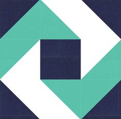 """Zig Zag Path Quilt Block Pattern - Here's a quilt block pattern with a dizzying design. Not so curvy as a drunkard's path block, the Zig Zag Path Quilt Block Pattern is easy to sew using squares and half-square triangles. The bi-colored """"path"""" on this quilt block seems to spin down toward the dark square at its center.:"""