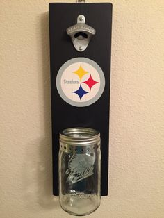 Steelers themed bottle opener with mason jar Pallet Crafts, Wood Crafts, Mason Jar Crafts, Mason Jars, Football Crafts, Football Gift, Beer Bottle Opener, Bottle Openers, Sport Craft