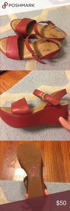Born platform sandals Red Born platform sandals. Hardly worn. There are slight scratches on right shoe. Born Shoes Sandals