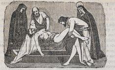 Xilografía alusiva en cabecera de dos apóstoles cogiendo el cuerpo de Jesucristo junto a la Virgen María y María Magdalena, que está llorando.