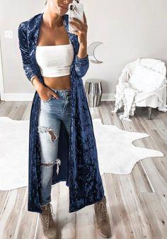Solid Color Velvet Long Cardigan Coat We Miss Moda is a leading Women's Clothing Store. Velvet Cardigan, Long Cardigan Coat, Velvet Jacket, Kimono Cardigan, Cardigan Fashion, Denim Fashion, Womens Fashion, Fashion Trends, Bohemian Fashion