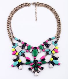 Double Layers Gold Alloy Necklace With Colorful Aritificial Gemstones  - New In