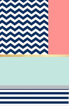 Colour inspiration: Navy Chevron, aqua, gold and coral