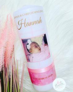Personalised Christening Candle, Baptism candle, Naming Day candle, Irish christening , Gaeilge, pink candle, baby candle