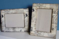 Decoupaged Wooden Frame Distressed Photo Frame Carte by epimade