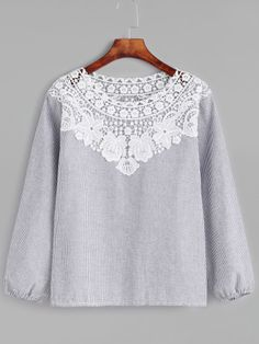 SheIn offers Vertical Pinstriped Contrast Lace Trim Top & more to fit your fashionable needs. Spring Shirts, Couture Tops, Striped Fabrics, Lace Tops, Sewing Clothes, Blouses For Women, Casual Dresses, Chiffon, My Style