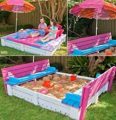 Decoracion Hogar - Decoracion Diy-Manualidades - Comunidad - Google+ Wood Pallet Recycling, Diy Pallet, Pallet Ideas, Sand Pit, Sandbox, Porch Swing, Picnic Blanket, Outdoor Blanket, Wood Pallets
