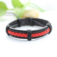 Mens Red and Black Leather Braided Bracelet Womens Braclet BST-205 by BraceletStreetUSA on Etsy