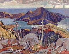 Sombre Isle of Pic, Lake Superior - Arthur Lismer, - Group of Seven - Oil on canvas, x Winnipeg Art Gallery Canadian Painters, Canadian Artists, Landscape Art, Landscape Paintings, Landscapes, Winnipeg Art Gallery, Tom Thomson Paintings, Dazzle Camouflage, Group Of Seven
