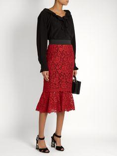 Cordonetto-lace fluted-hem pencil skirt | Dolce & Gabbana | MATCHESFASHION.COM