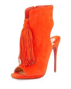 Ottaka Suede Fringe Open-Toe Red Sole Bootie, Cappucine by Christian Louboutin at Neiman Marcus.