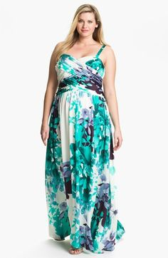 Adrianna Papell Floral Print Charmeuse Gown (Plus) | Nordstrom