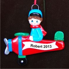 Airplane Boy Personalized Christmas Ornament
