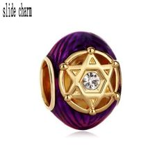 slide charm Free shipping purple enamel egg a hexagonal hollow religious charm beads fit Pandora bracelet