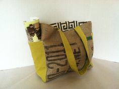 Repurposed Coffee Bean Burlap Tote Bag Med by ButtonfootHandmade, $52.00