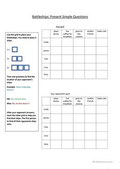 Battleships for Present Simple Questions