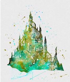 Ariel 's castle watercolor