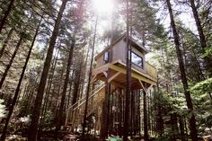 An eco-resort in the middle of a stunning Ouareau Forest Regional Park, on the banks of the Dufresne River. These unique tree houses are equipped with solar energy and built using recycled materials where possible. Kabania's motto. Woodland House, Forest House, Glamping, Treehouse Hotel, Cool Tree Houses, Unique Trees, Eco Friendly House, Tree Tops, Prefab Homes